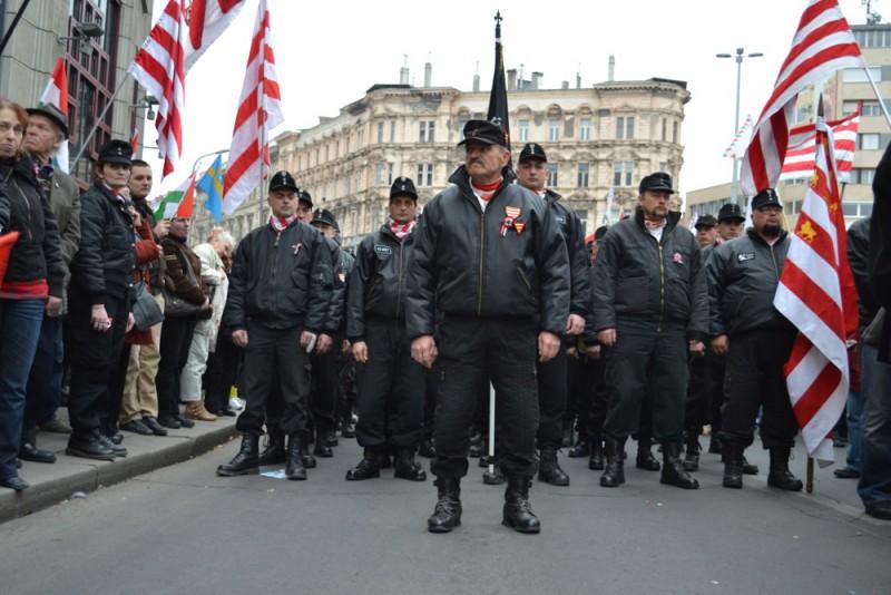 Hugrarian Jobbik activists marching.
