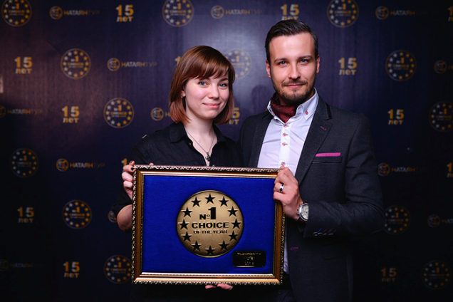 Michael Sender and Lily Hedina at the Choice of the Year Awards in Minsk, 2016.