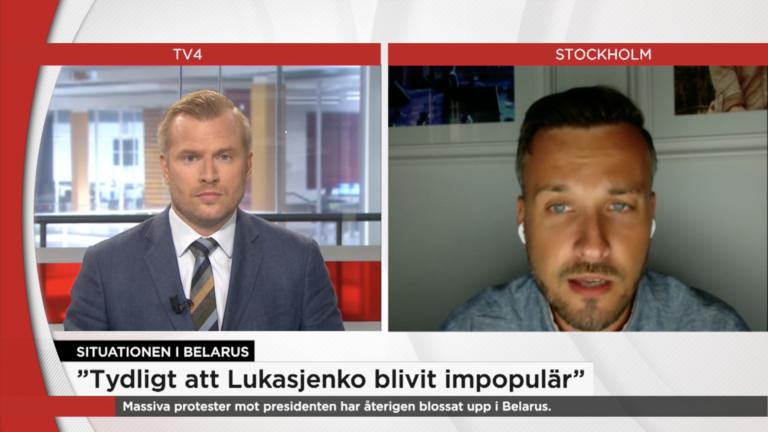 """Sender: """"Tydligt att Lukasjenko blivit impopulär"""" // TV4"""